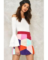 Nasty Gal Patch Things Up Vegan Suede Skirt Patch Things Up Vegan Suede Skirt - Multicolour