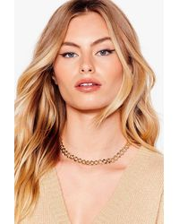 Nasty Gal Chain-ge The Record Curb Chain Necklace - Metallic