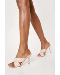 Nasty Gal Quilted Crossover Heeled Open Toe Mules - Natural