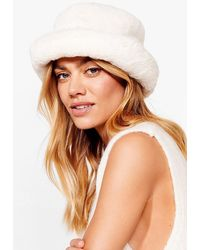 Nasty Gal Let's Head Out Faux Fur Bucket Hat - White