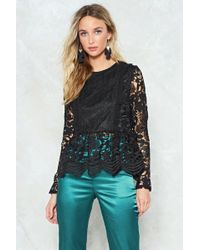 """Nasty Gal """"lace To Lace Peplum Blouse"""" - Black"""