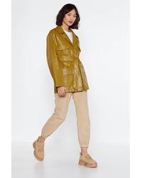 """Nasty Gal """"longing For You Faux Leather Belted Jacket"""" - Yellow"""