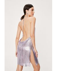 Nasty Gal Chainmail Cowl Neck Relaxed Mini Dress - Purple