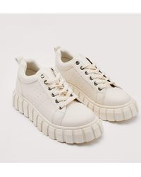 Nasty Gal Chunky Faux Leather Cleated Sneakers - Natural