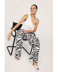 Nasty Gal Pantalon Large Taille Haute À Imprimé Zèbre - Noir
