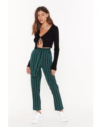 """Nasty Gal """"we're The Jealous Pinstripe Tapered Pants"""" - Green"""