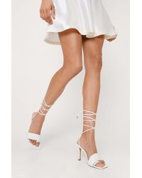 Nasty Gal - Faux Leather Quilted Toe Loop Strappy Heels - Lyst