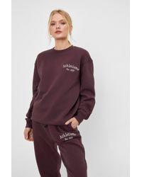 Nasty Gal Athletisme Embroidered Oversized Sweatshirt - Brown