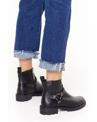 """Nasty Gal """"ring Me Up Faux Leather Boots"""" - Black"""
