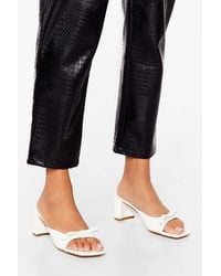 Nasty Gal We Bow The Score Faux Leather Block Heeled Sandals - White