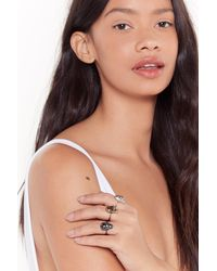 """Nasty Gal """"let's Put Our Heads Together Skull 3-pc Ring Set"""" - Metallic"""