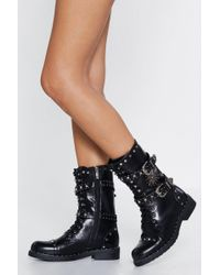 """Nasty Gal """"shooting Star Faux Leather Boot"""" - Black"""