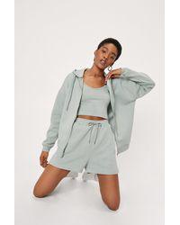 Nasty Gal Zip Hoodie And Shorts 3-pc Set - Grey