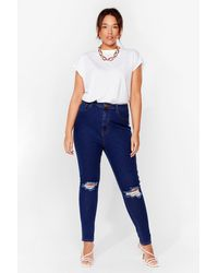 Nasty Gal Get A Shred Start Plus Skinny Jeans - Blue