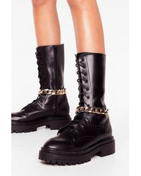 Nasty Gal Chain-ge Of Direction Detachable Boot Chains - Metallic