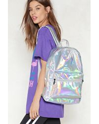 Nasty Gal - Want Back At It Again Iridescent Backpack - Lyst
