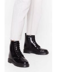 "Nasty Gal ""ain't Got Shine Faux Leather Lace-up Boots"" - Black"