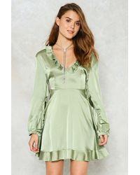 Nasty Gal - Ruffle Satin Mini Dress Ruffle Satin Mini Dress - Lyst