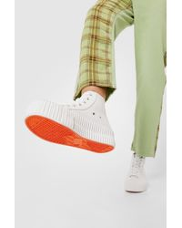 Nasty Gal Ribbed Faux Leather Hi Top Flatform Sneakers - White