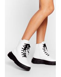 """Nasty Gal """"cleat It Real Faux Leather Lace-up Boots"""" - White"""