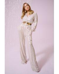 Nasty Gal Spotlight Worthy Sequin Wide-leg Pants - Metallic