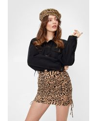 Nasty Gal Leopard Print Ruched Mini Skirt - Multicolour