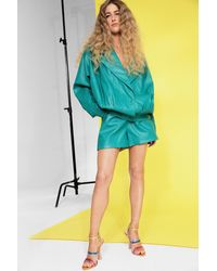 Nasty Gal High Waisted Faux Leather Longline Shorts - Green