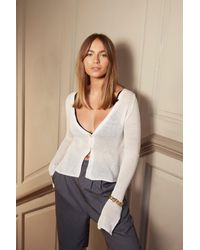 """Nasty Gal """"right Sheer Waiting Button-down Cardigan"""" - White"""