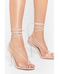 """Nasty Gal """"have We Made That Clear Strappy Stiletto Heels"""" - Natural"""