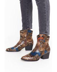 "Nasty Gal ""rare Breed Snake Cowboy Boots"" - Brown"