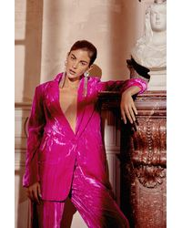 Nasty Gal Single Breasted Crushed Velvet Blazer - Pink