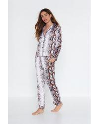 9b10b457ae Nasty Gal - Can I Snake A Message Shirt And Pants Pajama Set - Lyst
