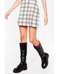 Nasty Gal Patent Lace Up Knee High Boots - Black