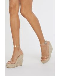 Nasty Gal Stand Clear Espadrille Clear Wedges - White