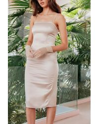 """Nasty Gal - """"the First To Dance Fitted Satin Dress"""" - Lyst"""