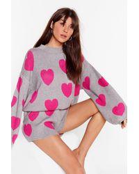 "Nasty Gal ""heart Design Jumper And Shorts Lounge Set"" - Grey"