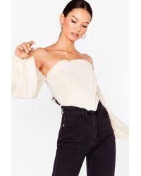 Nasty Gal Walk It Off-the-shoulder Ruffle Blouse - Multicolour