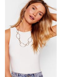 """Nasty Gal """"linking About You Geometric Chain Necklace"""" - Metallic"""