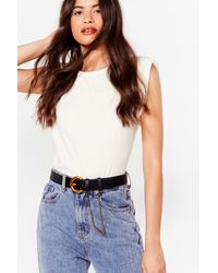 Nasty Gal Time For Chain-ge Faux Leather Belt - Black