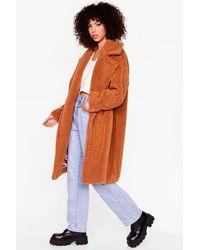 Nasty Gal When You're Teddy Oversized Faux Fur Coat - Orange