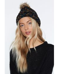 Nasty Gal - Multi Cable Knit Beanie With Faux Fur Pom - Lyst