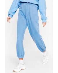 Nasty Gal Get Your Sweat On Cuffed High-waisted Joggers - Blue