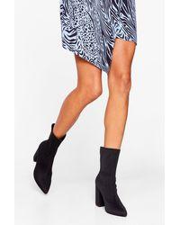 Nasty Gal Block Heel Pointed Sock Boots - Black