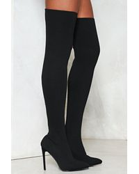 Nasty Gal Knitted Over The Knee Boot Knitted Over The Knee Boot - Black