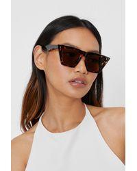 Nasty Gal Tortoiseshell Flat Top Cat Eye Sunglasses - Marron
