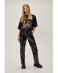 Nasty Gal Petite contrast stitch vinyl wide leg trousers - Noir