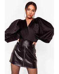 Nasty Gal Inflated Ego Petite Balloon Sleeve Bodysuit - Black