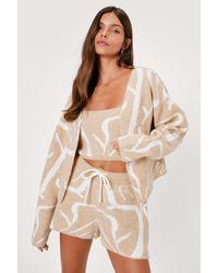 Nasty Gal Drawstring High Waisted Knitted Marble Shorts - Natural
