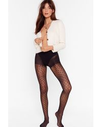 """Nasty Gal """"all Spot And Bothered High-waisted Tights"""" - Black"""