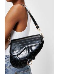 Nasty Gal Faux Leather Croc Saddle Shoulder Bag - Black